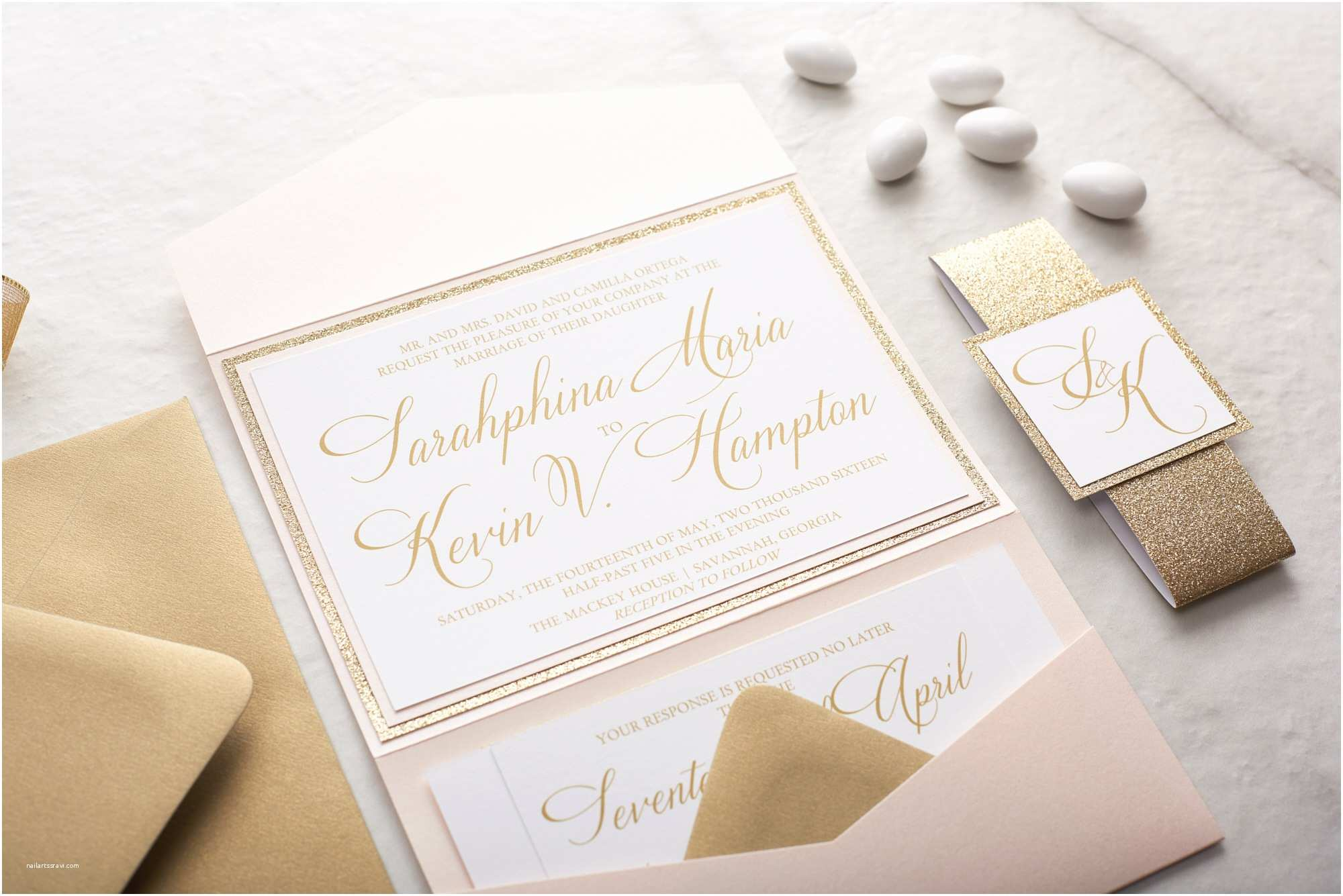 What is Included In A Wedding Invitation Suite Sarahphina Suite Glitter Wedding Invitation