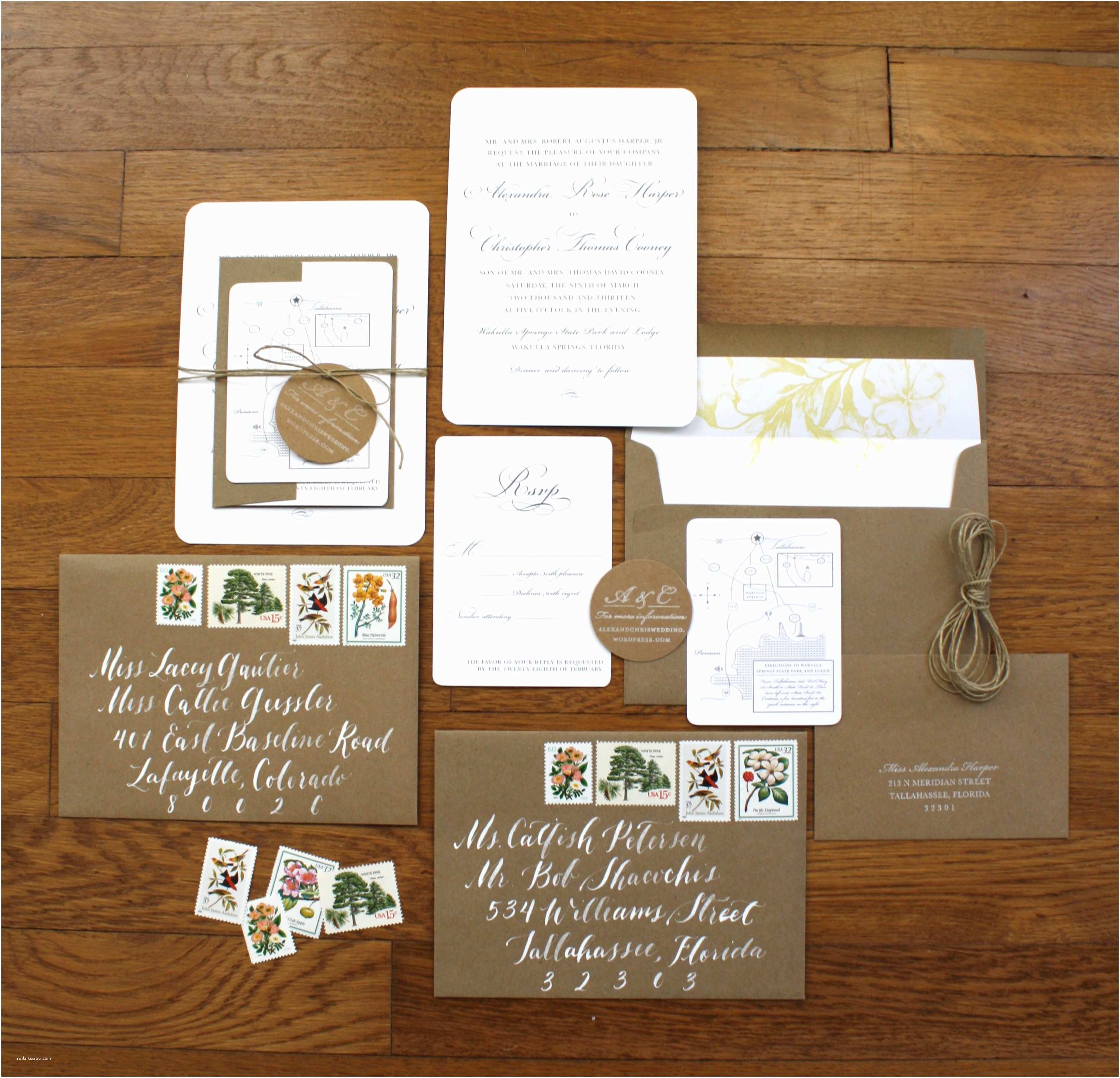 What is Included In A Wedding Invitation Suite Vintage Stamps – Blue Eye Brown Eye