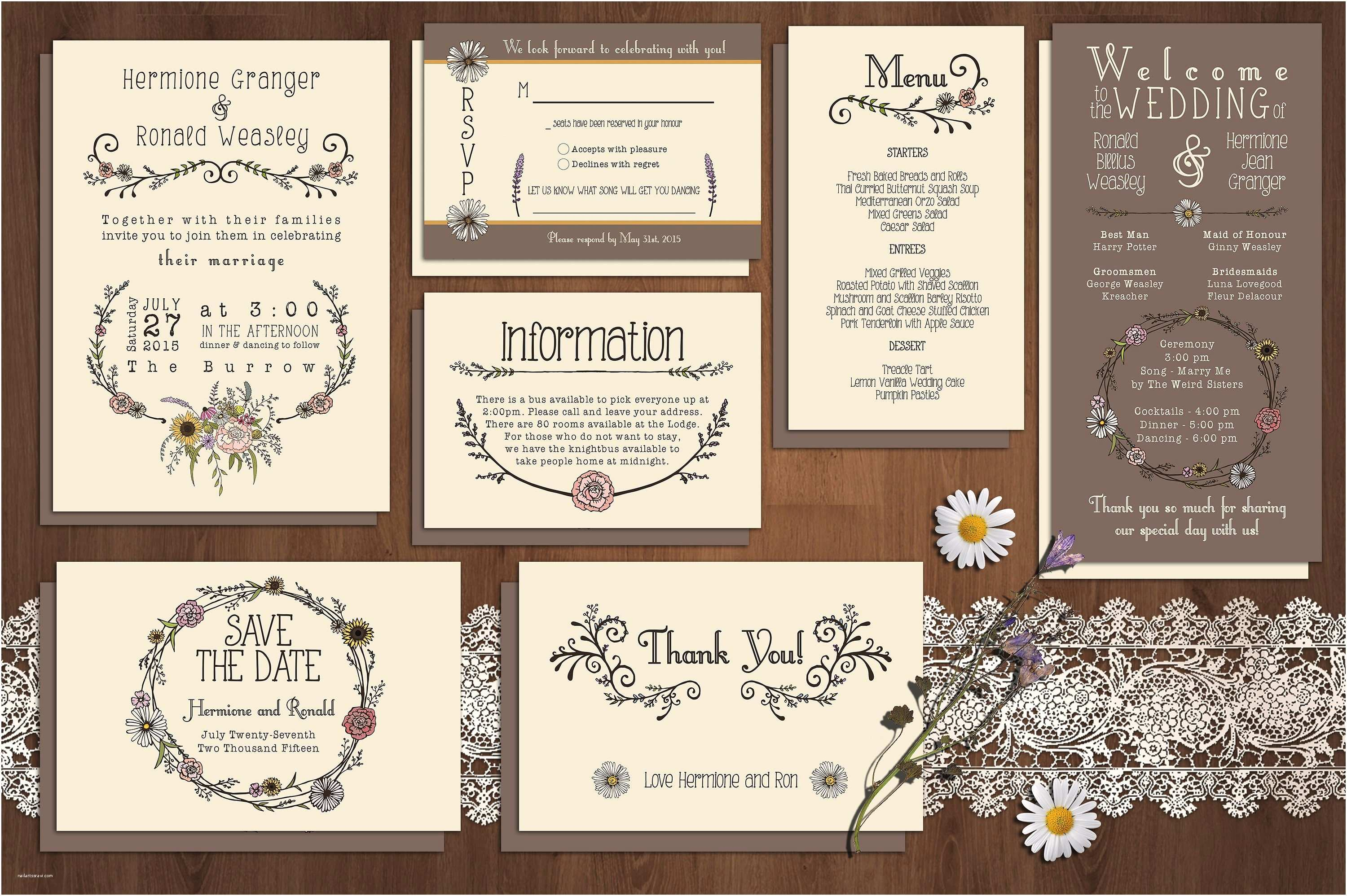 What is Included In A Wedding Invitation Suite Wildflower Wedding Invitation Suite Invitation Templates
