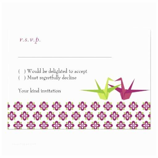 "What Size are Rsvp Cards for Wedding Invitations origami Cranes Wedding Rsvp Cards W Envelopes 3 5"" X 5"