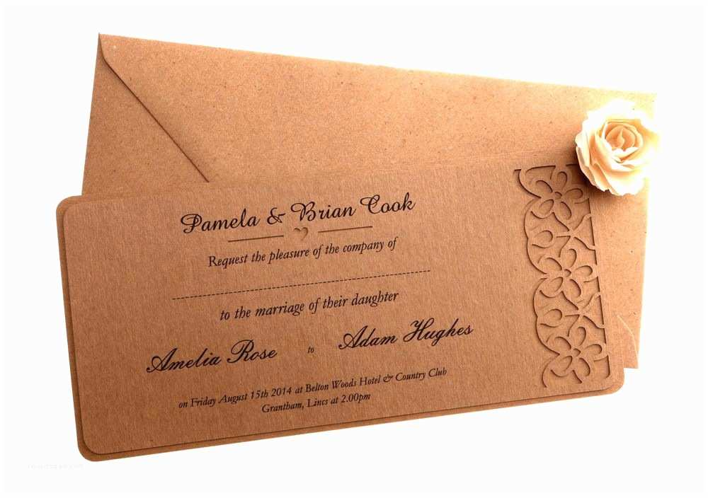What Size are Wedding Invitation Envelopes Brown Kraft Floral Wedding Invitation with Free Envelopes