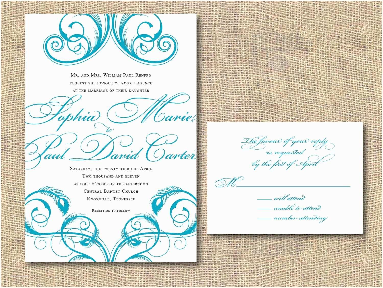 When to order Wedding Invitations Wedding Invitation Wording Printable Peacock Wedding