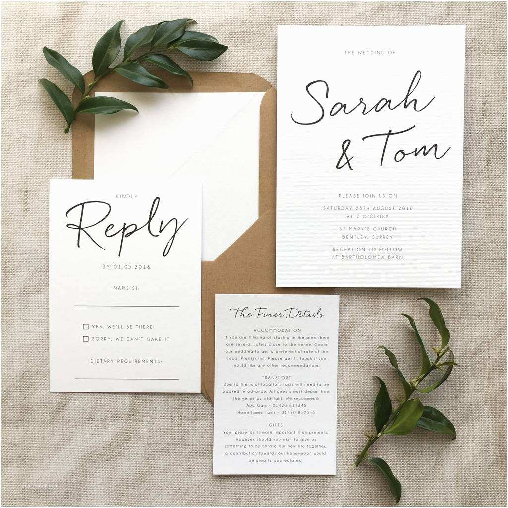 Where to Get Wedding Invitations Minimalist Wedding Invitation by Pear Paper Co