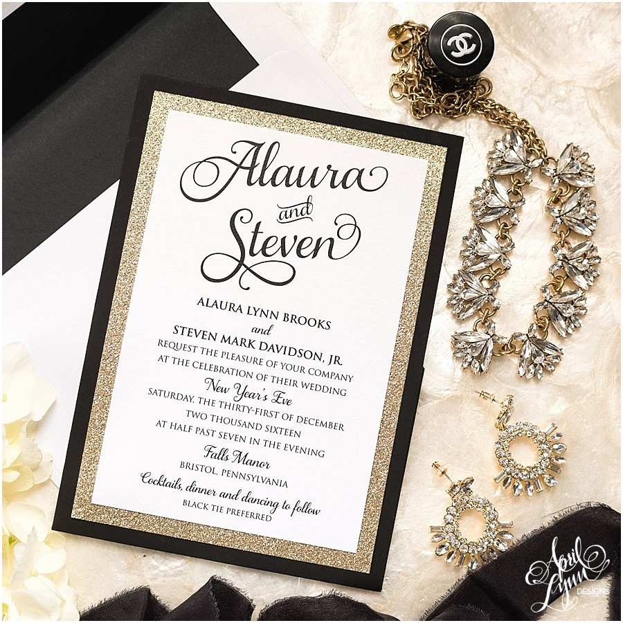 White and Gold Wedding Invitations Alaura Steve's Gold Glam New Year's Eve Wedding