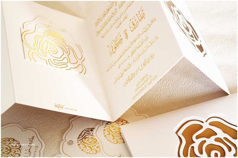 White and Gold Wedding Invitations Arabic Weddings White Gold Letterpress Wedding Invitations