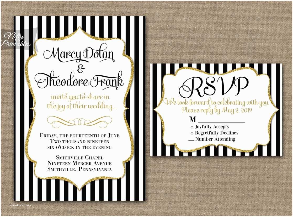 White and Gold Wedding Invitations Black & White Striped Gold Wedding Invitations Nifty