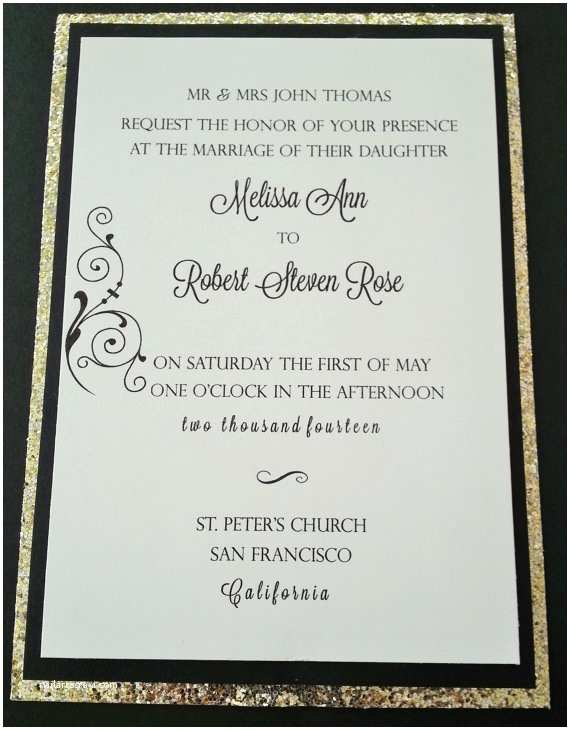 White and Gold Wedding Invitations Black White and Gold Wedding Invitation