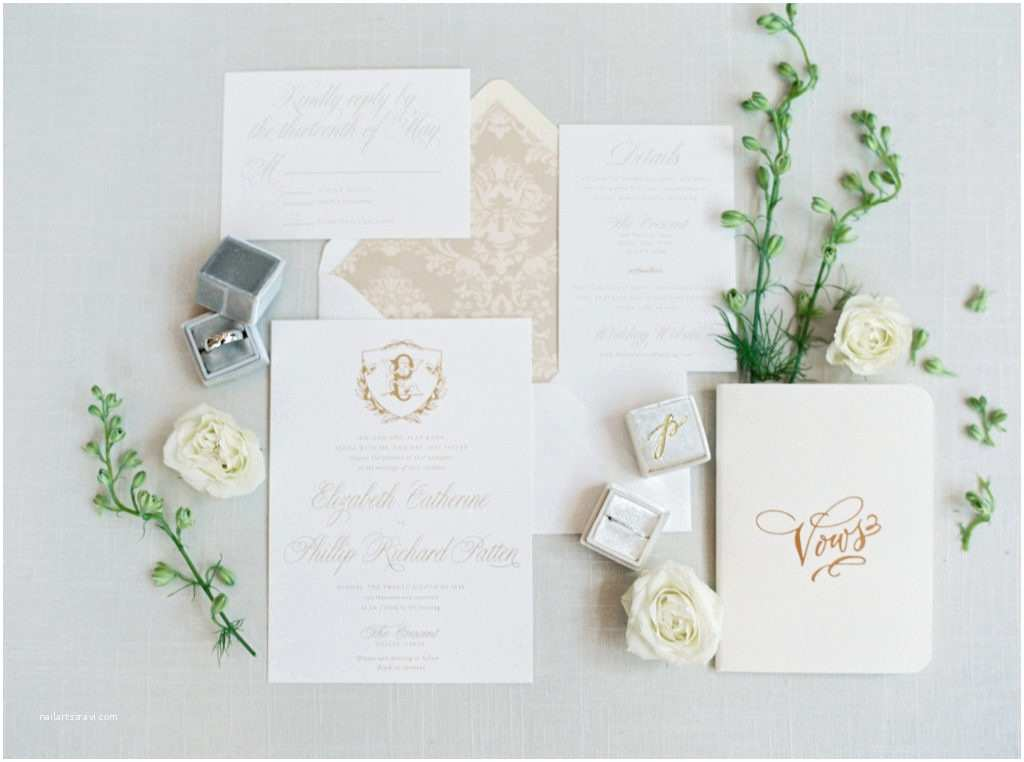 White and Gold Wedding Invitations Elizabeth and Philip A White Gold and Grey Spring