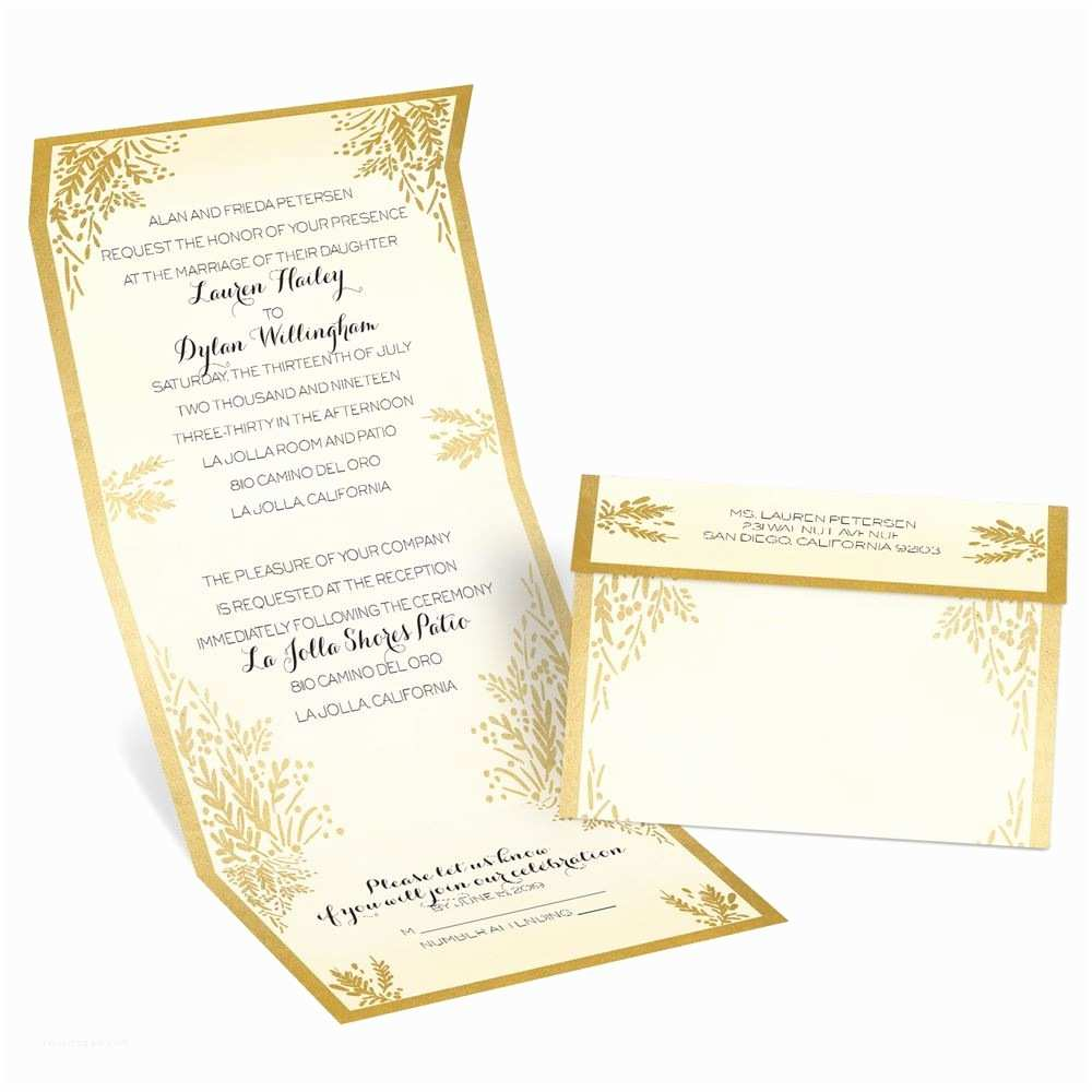White and Gold Wedding Invitations Ferns Of Gold Seal and Send Invitation