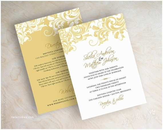 White and Gold Wedding Invitations Gold and White Wedding