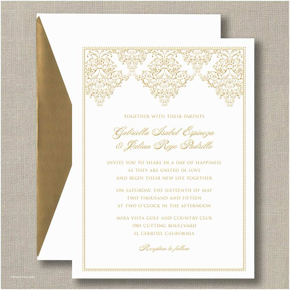 White and Gold Wedding Invitations Gold Damask Scroll Bright White – Wedding Invitations
