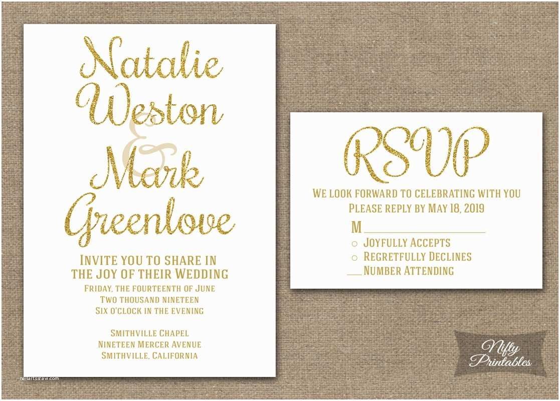 White and Gold Wedding Invitations Gold Glitter White Wedding Invitations Nifty Printables