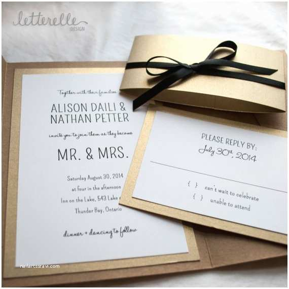 White and Gold Wedding Invitations Gold Kraft Simple Wedding Invitation 5x7 with Pocket