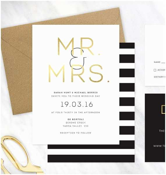 White and Gold Wedding Invitations Items Similar to Black Gold and White Wedding Invitation