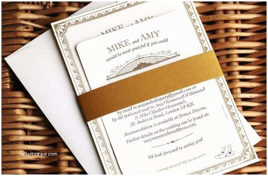 White and Gold Wedding Invitations Retro Wedding Invitations Black White Tan Vintage Inspired