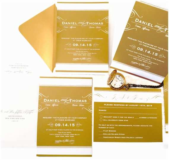 White and Gold Wedding Invitations Sample Gold Wedding Invitation with White Ink Wedding