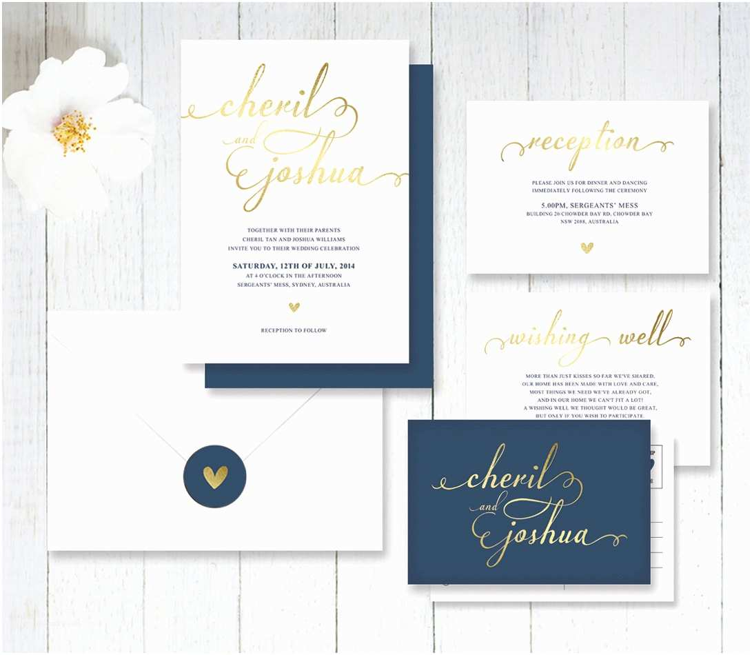 White and Gold Wedding Invitations Simple Navy and Gold Wedding Invitation by Littlebridgedesign