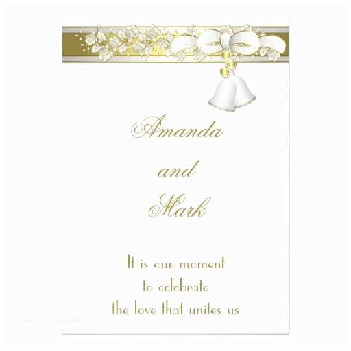 """White and Gold Wedding Invitations White and Gold Wedding Invitation 5"""" X 7"""" Invitation Card"""