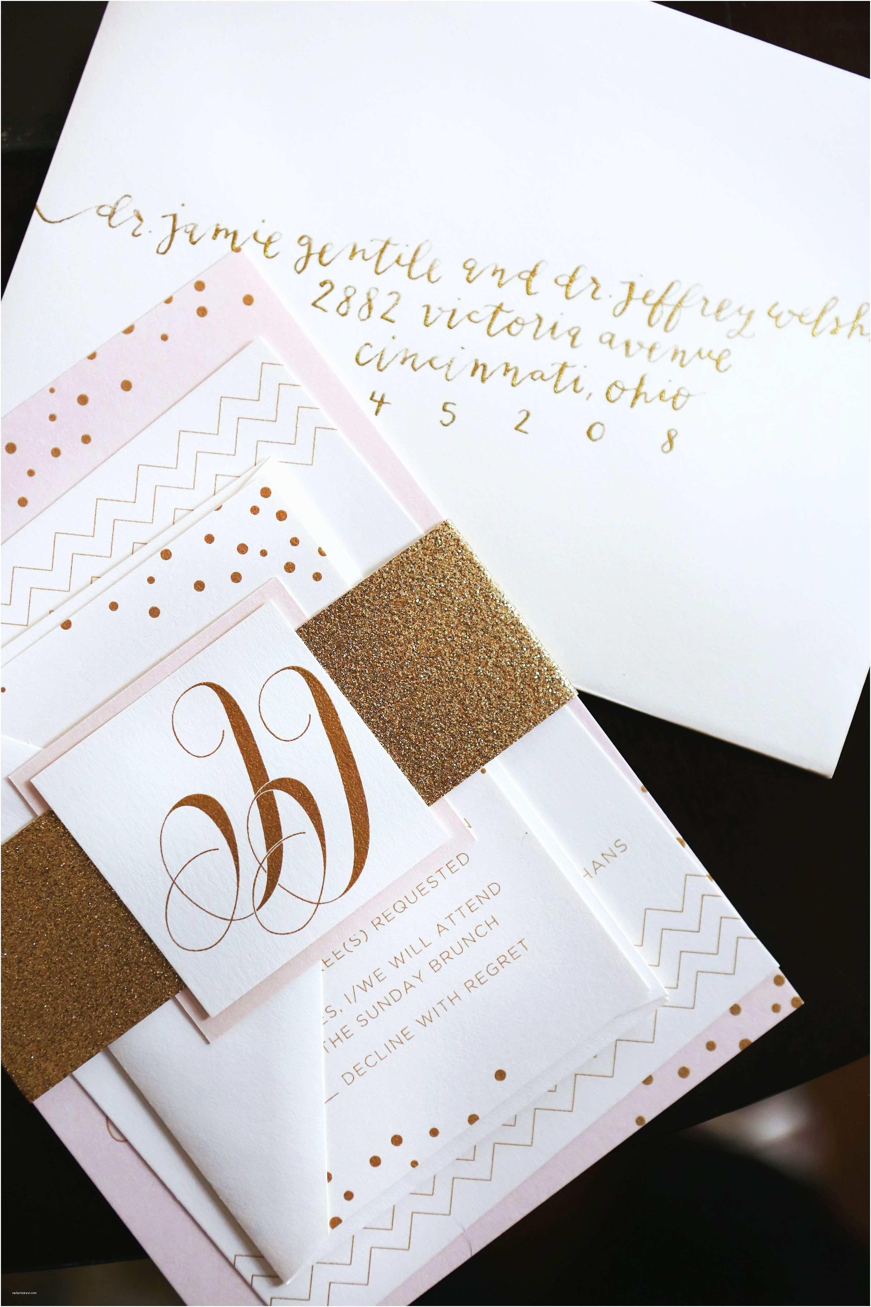 White and Gold Wedding Invitations White Gold and Blush Wedding Invitations