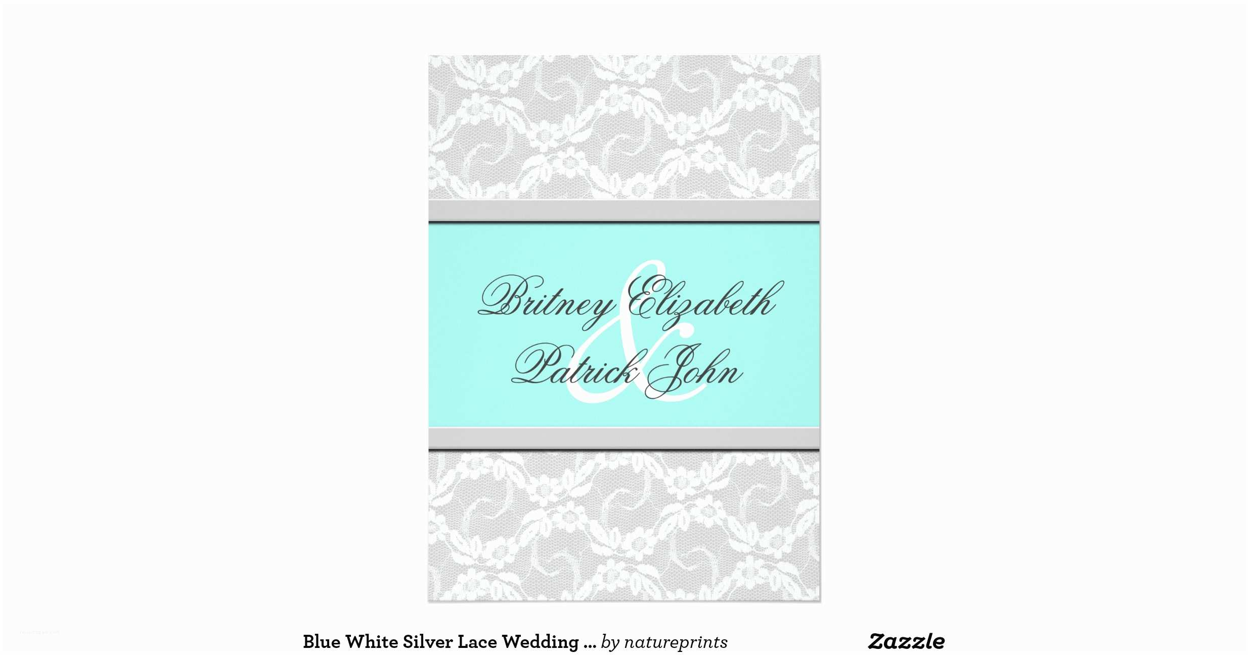 White and Silver Wedding Invitations Blue White Silver Lace Wedding Invitations