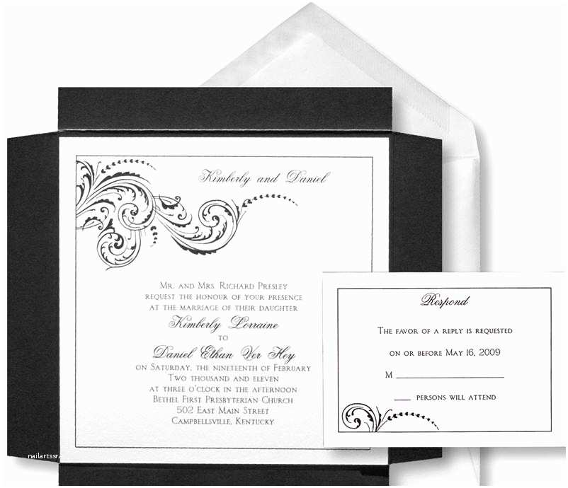 White and Silver Wedding Invitations Chic and sophisticated Black White Silver Square Wedding