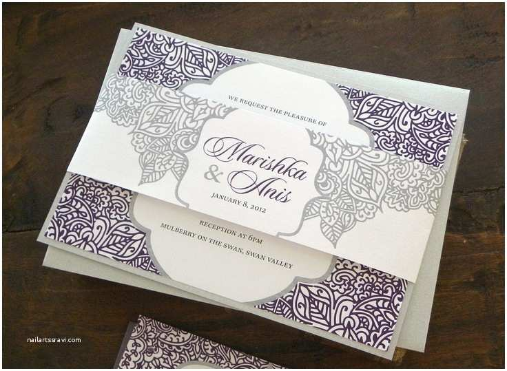 White and Silver Wedding Invitations Henna Inspired Layered Wedding Invitation Set In White