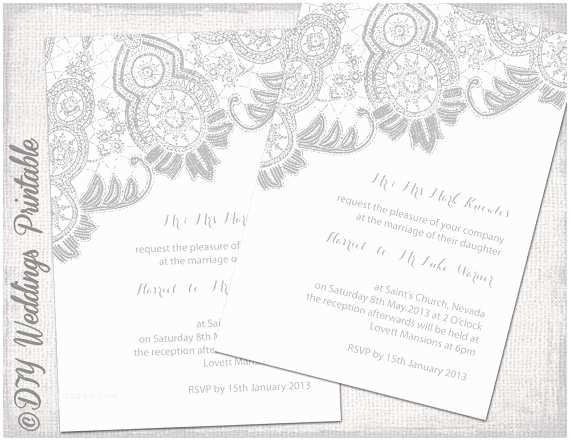 White and Silver Wedding Invitations Lace Wedding Invitation Template Silver Gray White
