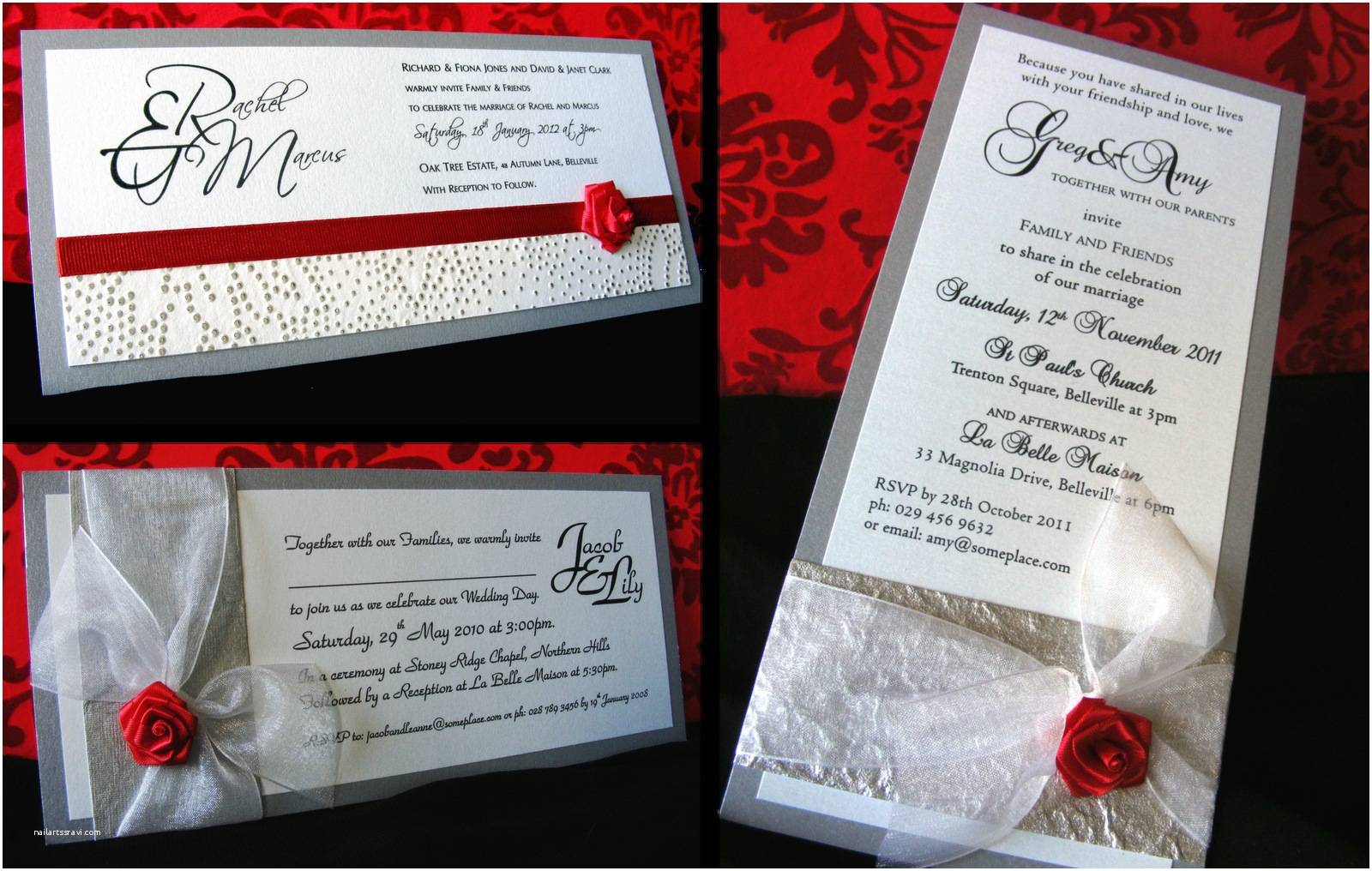 White And Silver Wedding Invitations Red White And Silver Wedding Invitations