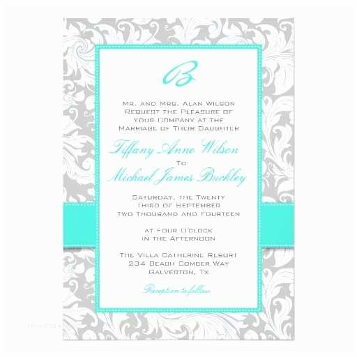White and Silver Wedding Invitations Silver White Damask Turquoise Wedding Invitation