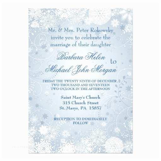 "White And Silver Wedding Invitations Snowflakes White Silver Blue Wedding Invitation 5"" X"