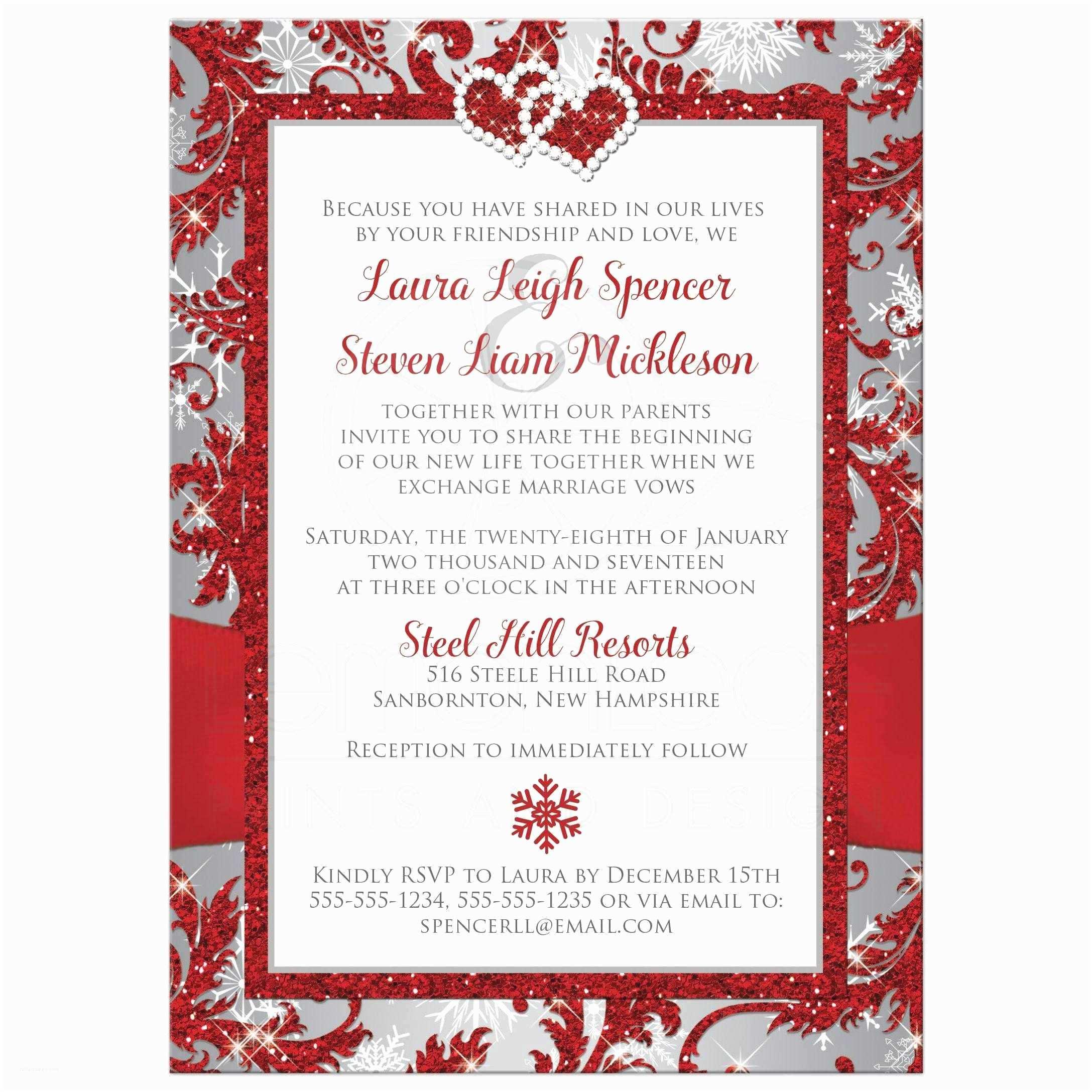 White and Silver Wedding Invitations Wedding Invitation Winter Wonderland
