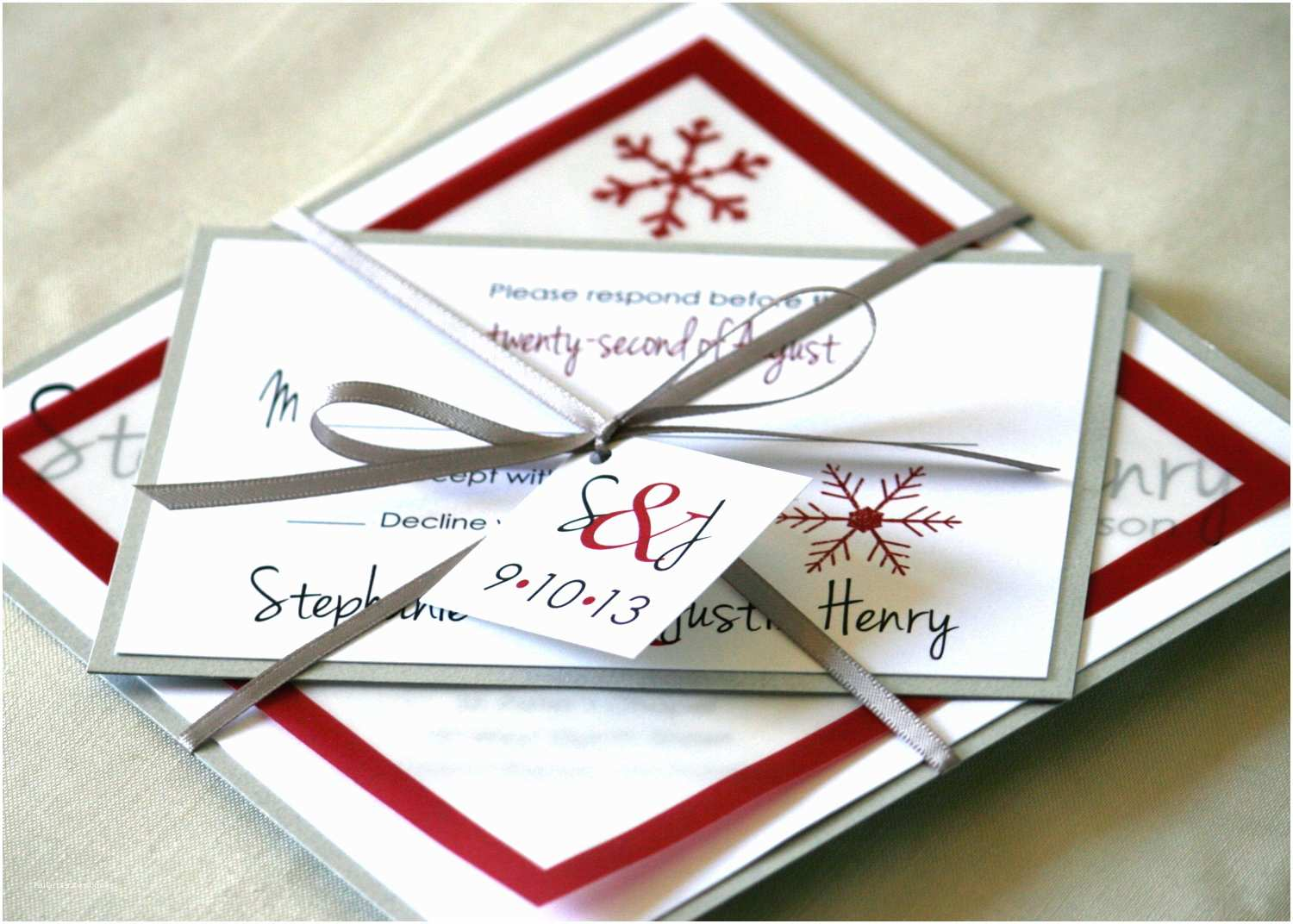 White and Silver Wedding Invitations Whimsical Winter Wedding Red White Silver Invitations