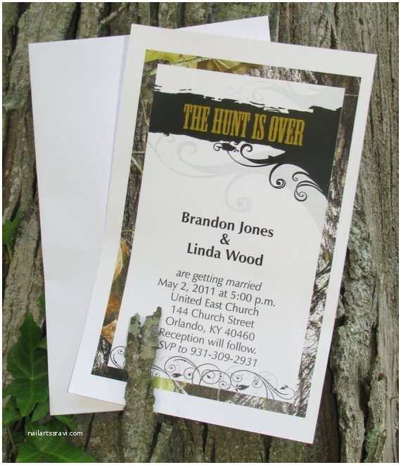 White Camo Wedding Invitations 50 Mossy Camo the Hunt is Over Wedding Invitations