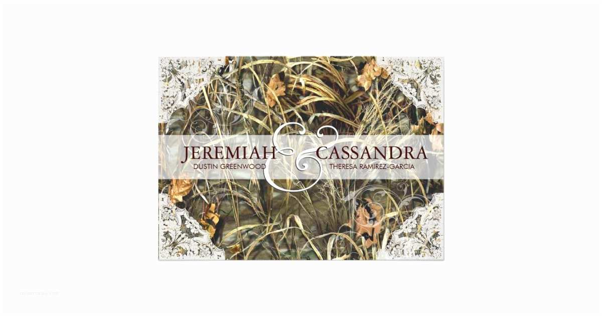 White Camo Wedding Invitations Camo and White Lace Wedding Invitation