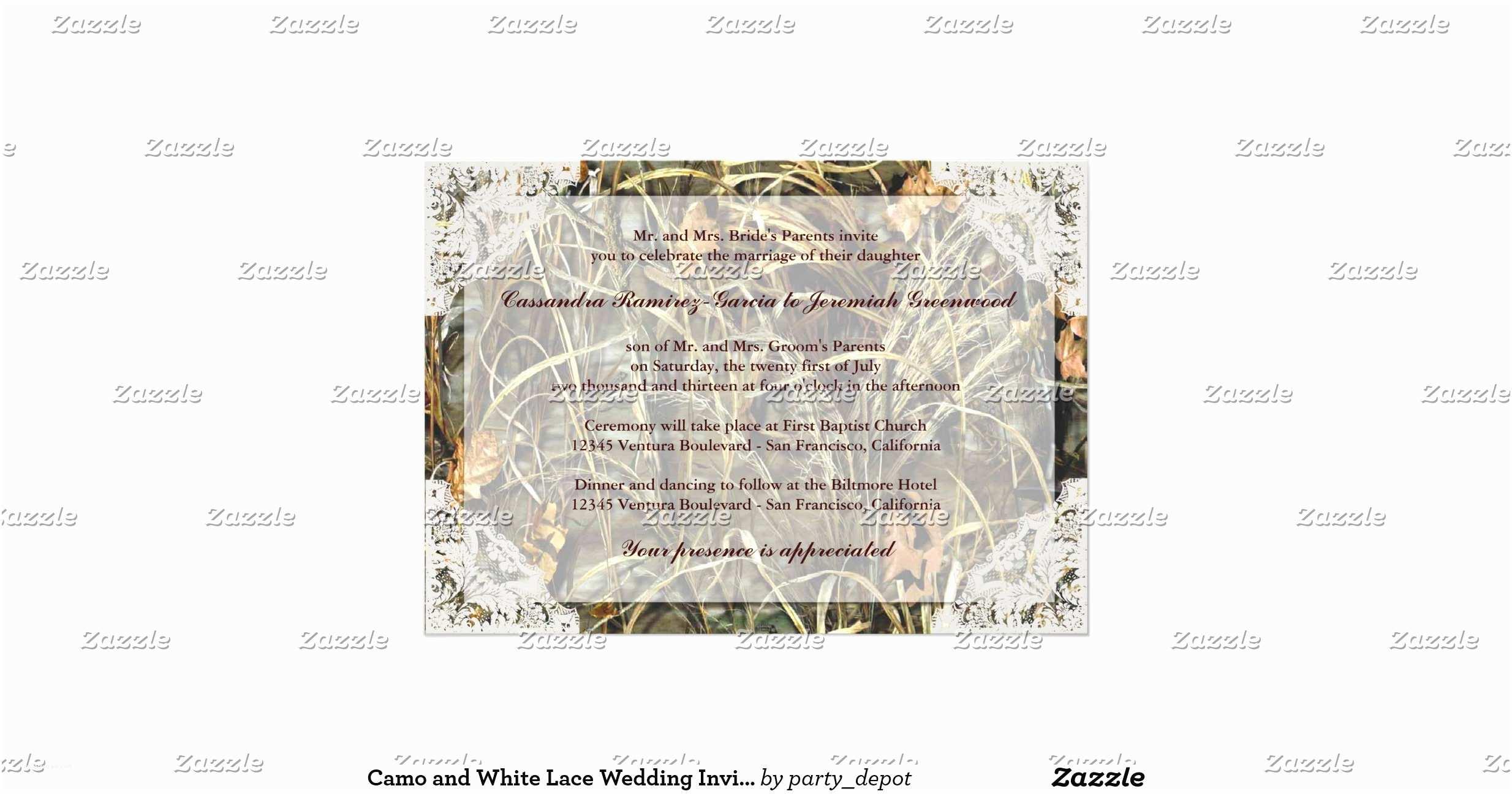 White Camo Wedding Invitations Camo and White Lace Wedding Invitation
