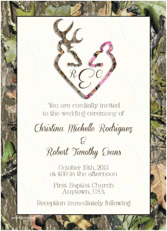 White Camo Wedding Invitations Camo Deer Hearts Wedding Invitation and Rsvp Card