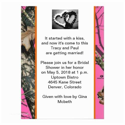 "White Camo Wedding Invitations Pink Mossy Oak Bridal Shower Invitation 5 5"" X 7 5"
