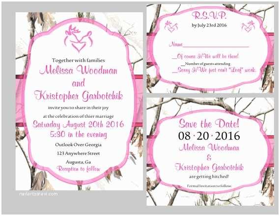 White Camo Wedding Invitations Realtree Snow Camo W Colored Wedding Invite by Surinedigitals