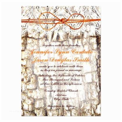 "White Camo Wedding Invitations Rustic Country Camo orange Bow Wedding Invitations 4 5"" X"