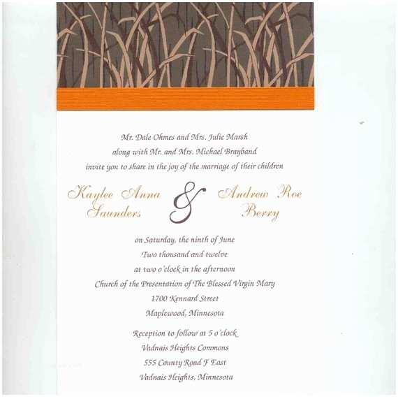 White Camo Wedding Invitations Shadow Grass Camouflage Wedding Invitation Set orange