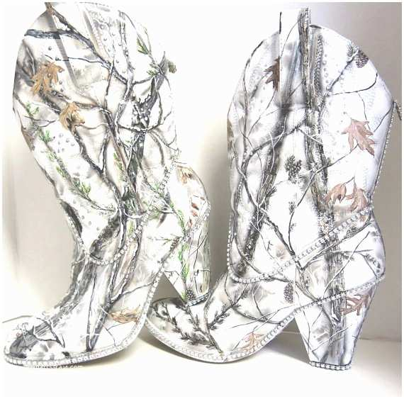 White Camo Wedding Invitations Snow White Camouflage Womens Western Bridal Boots Hand Pai