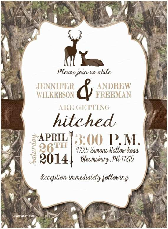 White Camo Wedding Invitations White Camo Deer Wedding Invitation and Rsvp Card by Mrsprint