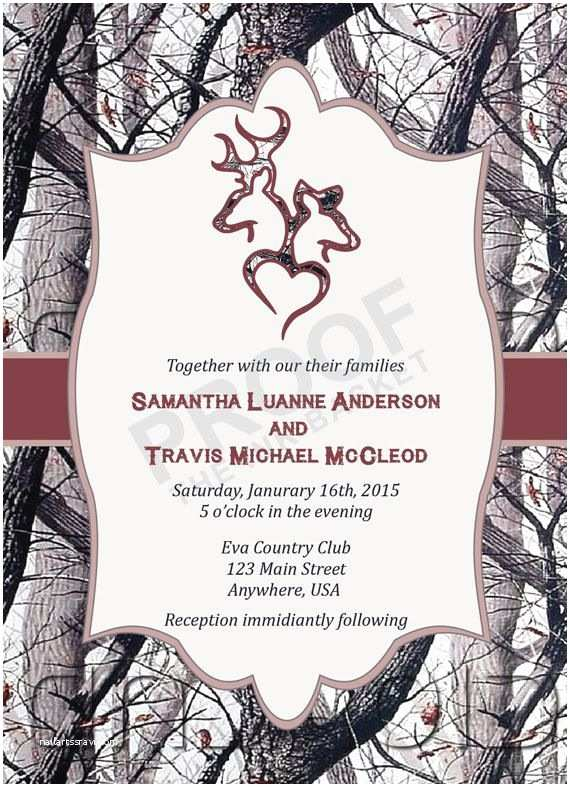 White Camo Wedding Invitations Winter Camo Deer Head Country Wedding Invitations by