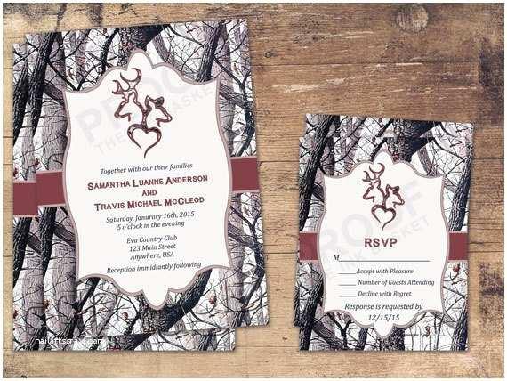 White Camo Wedding Invitations Winter Camo Deer Head Country Wedding Invitations by