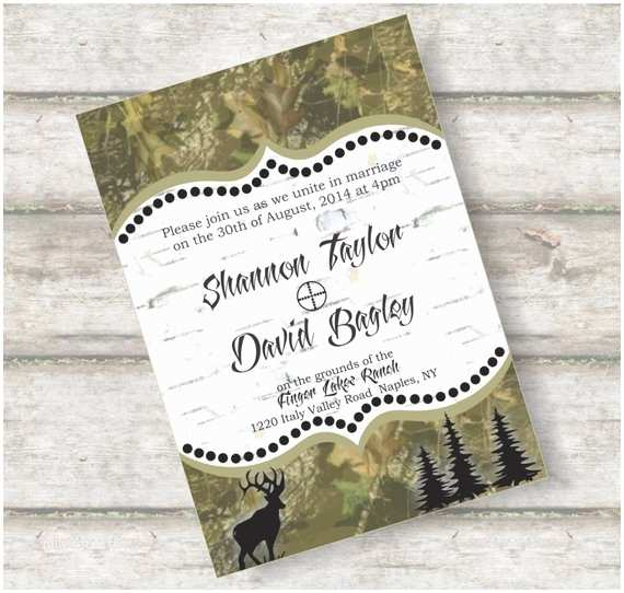 woodland camo wedding invitation suite