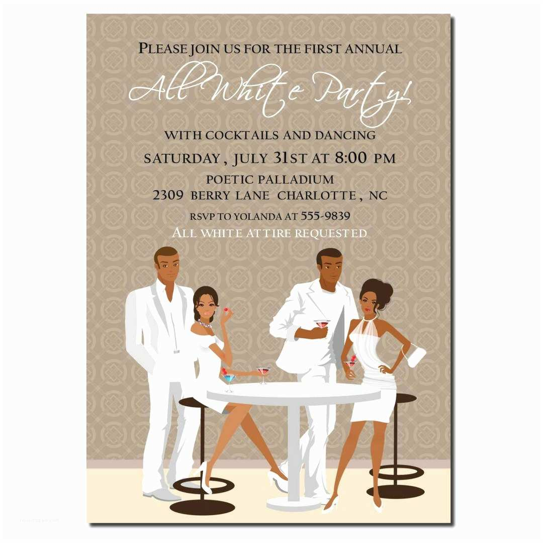 White Party Invitations African American All White Party Invitation African American
