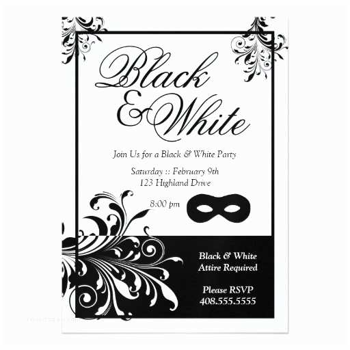 White Party Invitations Black and White Party Invitations
