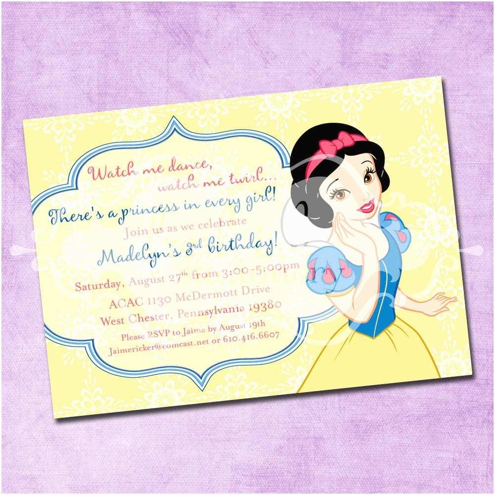 White Party Invitations Snow White Birthday Invitation