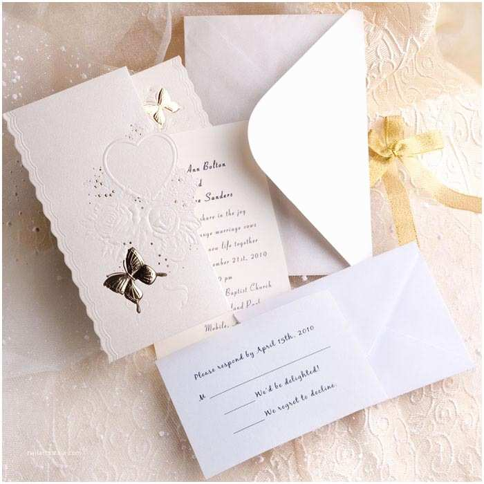 White Wedding Invitation Kit Elegant Ivory butterfly Art Deco Tri Fold Affordable