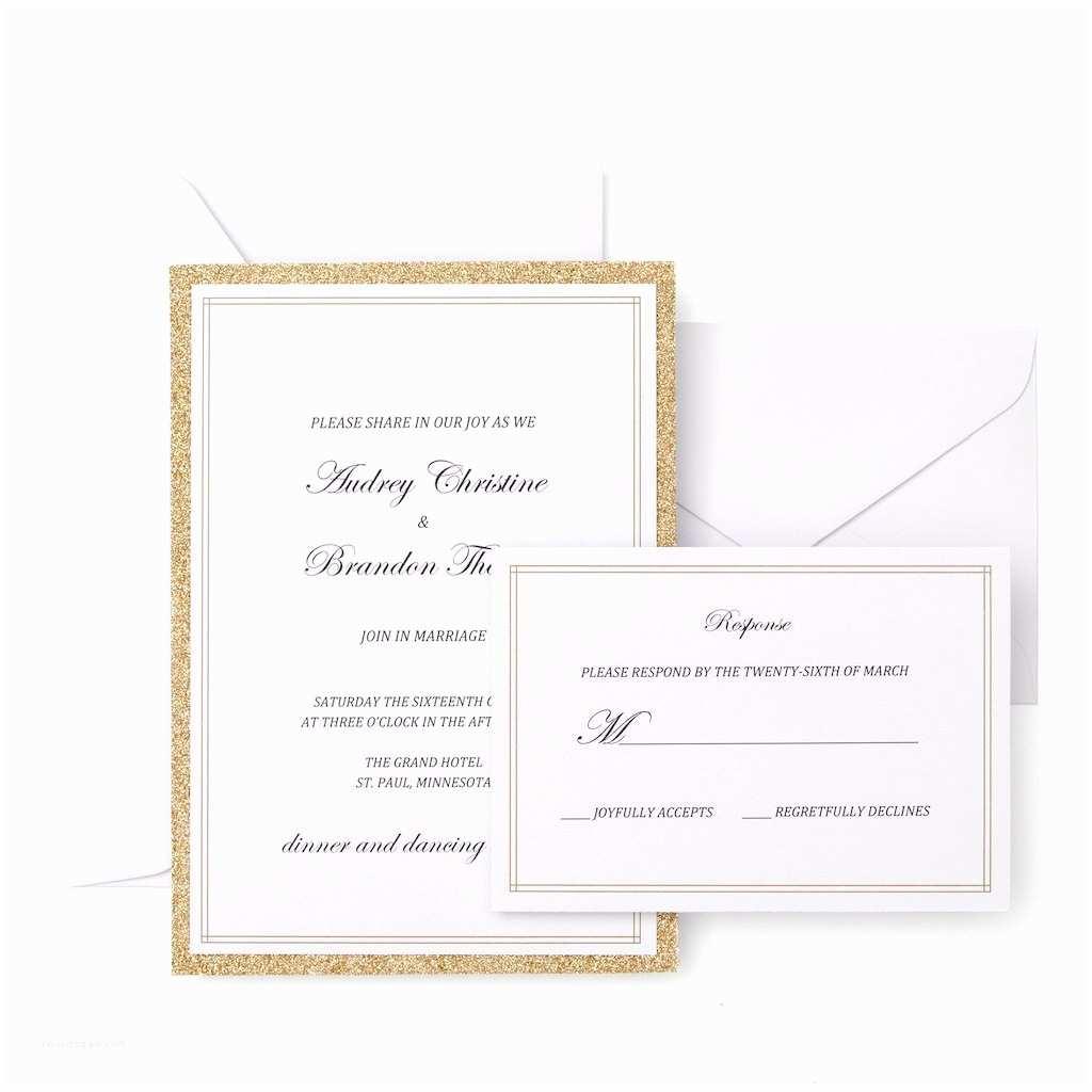 White Wedding Invitation Kit Gartner Studios Gold Glitter Invitation Kit
